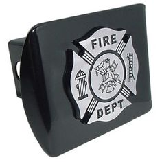 """Firefighter Chrome & Black on Black Hitch Cover. Made in the USA. A step above in quality and appearance.Hitch Cover Front plate 5 x 3.5 Fits standard 2"""" trailer hitch receivers. Made from all metal, Elektroplate's high-end hitch covers are regarded by many consumers as the nicest on the market."""