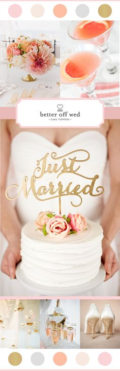 Color Trend: Coral, Gold, and Blush. Wedding cake topper by Better Off Wed http://www.betteroffwed.co