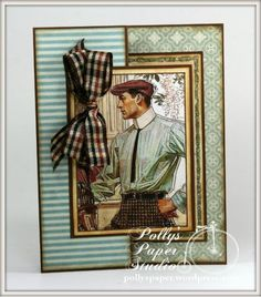 April 2015 G45 A Ladies Diary, Botanical Tea & RRR - Dapper Fellow Tri-Fold Card by Ginny Nemchak; Polly's Paper Studio
