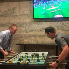 The guttural noises being made by these two in pursuit of foosball supremacy are very disconcerting! #worldcup #foosball #soccer #passionategrunting