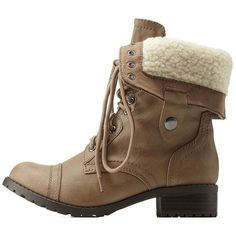 Charlotte Russe Light Taupe Shearling-Lined Combat Boots by Charlotte... ($46) ❤ liked on Polyvore featuring shoes, boots, ankle booties, light taupe, taupe ankle boots, army boots, taupe booties, combat boots and lace up booties