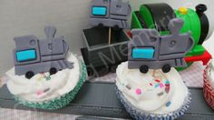 FONDANT TRAIN Cupcake Toppers or cake decorations. Edible train toppers. For any birthday and much more.