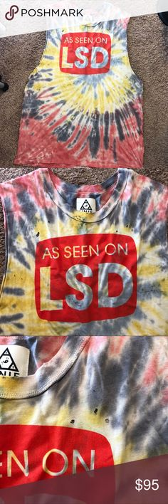 "UNIF As Seen on LSD shirt t-shirt acid psychedelic Awesome UNIF ""As seen on LSD"" t-shirt! Rare and discontinued, perfect for any collector! Size XL unisex. Item is oversized muscle tee with distressed look, tiny holes as designed, it looks larger on me bcuz I'm an extra small. No stains, Feel free to ask questions. Tags: unif dollskill iheartraves blotter rainbow tie dye hallucinate multi color acid trip tripping trippin cid Lucy in the sky with diamonds raver burning man rave Edc Edm plur…"
