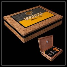 COHIBA Ostrich Pattern Leather and Cedar Wood Travel Humidor Set