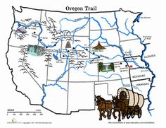 Middle School Geography Word Search Worksheets: Oregon Trail Map: The Wagon Train of 1843