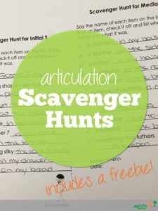 scavenger-hunts for articulation practice - keeping speech therapy fun and engaging