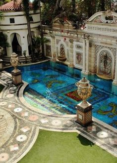 Water Beautiful: Designer Gianni Versace's  Pool in Miami, South Beach.