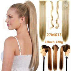 Peinados extensión sintética del pelo cola de caballo con cordón postizos abrigo de cola de caballo larga recta pedazo del pelo a prueba de calor de 22 pulgadas