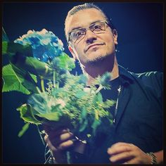 Mike Patton getting presented with flowers