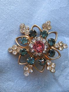 Vintage Retro Starburst Blue Pink Rhinestone Watch by Sonupsales, $16.99