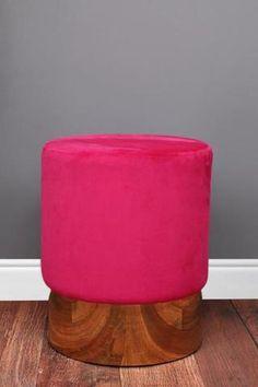 Pink Velvet Stool