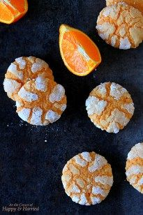 Deliciously chewy crinkle cookies bursting with a fresh orange flavor, you simply cannot stop at one! Lemon Crinkle Cookies, Chocolate Crinkle Cookies, Chocolate Crinkles, Brownie Cookies, Yummy Cookies, Cookie Bars, Cookie Recipes, Dessert Recipes, Orange Cookies
