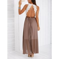 Fashionable Lace Spliced Backless Maxi Dress (£15) ❤ liked on Polyvore featuring dresses, backless maxi dress, backless lace dress, maxi length dresses, backless dresses and lacy dress