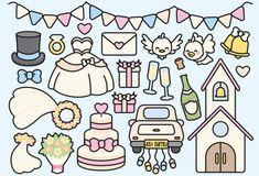 Premium Vector Clipart Kawaii Wedding by LookLookPrettyPaper
