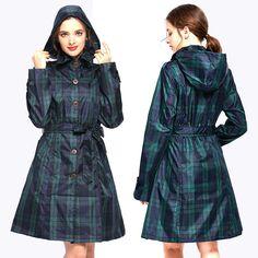 Womens Stylish Long Green Grid Rain Poncho Waterproof Raincoat Jacket Coat with Hood and Belt Stylish Raincoats, Raincoat Jacket, Hooded Raincoat, Rain Poncho, Hooded Poncho, Rash Guard, Sexy Women, Cowls, Wraps