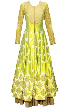 Lemon yellow dori embroidered anarkali gown with beige dupatta by Anoli Shah. Shop now: www.perniaspopups.... #anarkali #beautiful #designer #anolishah #pretty #clothing #shopnow #perniaspopupshop #happyshopping