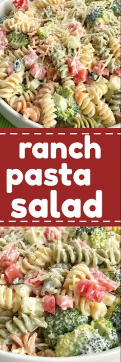 Ranch pasta salad is an easy and delicious side dish for summer picnics and bbq's. Only 6 ingredients and minutes to prepare. Tender pasta, cucumber, broccoli, tomatoes, and parmesan cheese covered in ranch dressing. So simple! (Use GF pasta) Lunch Snacks, Lunches, Healthy Recipes, Vegetarian Recipes, Simple Recipes, Pasta Dishes, Food Dishes, Pasta Facil, Pasta Salat