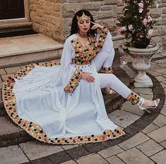 Stylish Dresses For Girls, Stylish Dress Designs, Girls Dresses, Indian Fashion Dresses, Indian Outfits, Afghan Wedding Dress, Afghani Clothes, Ethiopian Dress, Balochi Dress