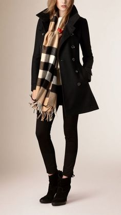 Short Double Wool Twill Trench Coat