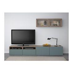 IKEA - BESTÅ TV storage combination/glass doors walnut effect light Living Room Organization, Ikea, Furniture, Tv Storage, Storage Furniture, Furnishings, Trendy Living Rooms, Home Furnishings, Affordable Furniture