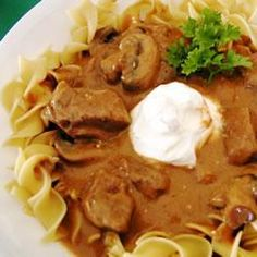 Slow Cooker Beef Stroganoff.  7 Pro Points per serving not including pasta or rice and without the sour cream topping.