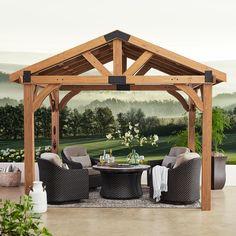 Diy Pergola, Cedar Pergola, Backyard Gazebo, Wooden Pergola, Pergola Shade, Backyard Landscaping, Pergola Ideas, Pavillion Backyard, Patio Ideas