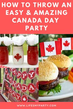 How to Throw an Easy and Amazing Canada Day Party! Thanksgiving Recipes, Holiday Recipes, Holiday Ideas, Food Themes, Party Themes, Food Ideas, Party Ideas, Canadian Party, Canada Day Party