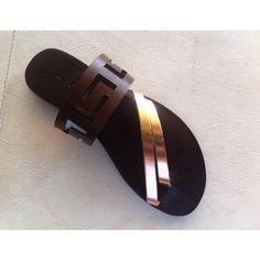meander sandalsancient greek sandalsleather by chicbelledejour (€40) via Polyvore