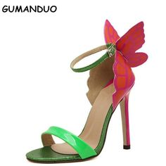 Explosion Models 2016 NEW Women  Sophia Webster Colorful Butterfly Heeled Sandals Pumps 11.5 cm Thin Heel Peep Toe Shoes #Affiliate