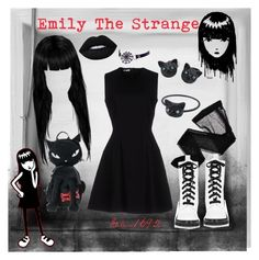 """Emily the Strange"" by salem1692 on Polyvore featuring Wolford, EMILY THE STRANGE, Miu Miu, Lime Crime, Chicnova Fashion and Marc Jacobs"