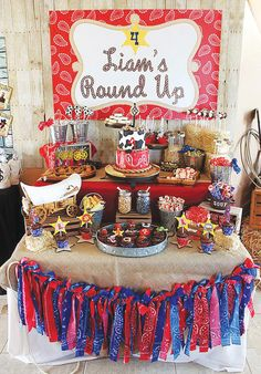 Rootin Tootin Round Up Cowboy Birthday Party - so many clever ideas for a cowboy party. Rodeo Birthday, Cowboy Birthday Party, Farm Birthday, Boy Birthday Parties, Birthday Party Decorations, Birthday Celebration, Cowboy Party Decorations, Birthday Ideas, Western Table Decorations