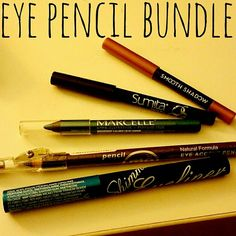 Eye Pencil Bundle 5 liners for sale! All new!! Too to bottom: Elizabeth Mott Penny, Sum!ta Beauty Rain (Navy), Marcelle Blue Lagoon, Pencil Me In Amethyst, Nickak NY Blue Shimmer Liquid Liner. Makeup Eyeliner
