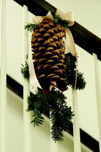 No need  to swag the entire staircase. Tie a ribbon, pinecone and some greens on three to five balusters.