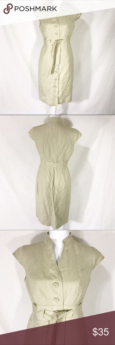 """Calvin Klein Tan Button Front Belted Career Dress Calvin Klein Dress in Tan color.  Button front design. Knee Length. Sheath style. Large fabric belt. Perfect for the office. Fully lined. Shell 55% Linen, 45% Rayon. Lining 100% Polyester.   Size  6   Measurements  Chest 36"""" Waist 28.5"""" Hips 38.5""""   Condition  Excellent pre-owned condition. No flaws noted. {Please excuse the wrinkles. Linen has its ways.} Calvin Klein Dresses"""