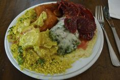 Seerose-Vegetarian Buffet, Berlin-Great vegetarian food - heaped on a plate.