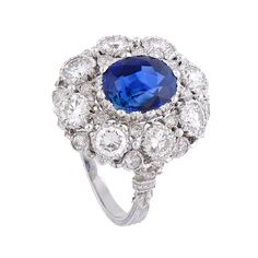 Sapphire & Diamond Cluster Ring by Buccellati