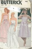 "An original ca. 1980's Butterick Pattern 4993.  Misses' Dress. Dress, 2"" below mid-knee or evening length, has close-fitting bodice with boning, front and back princess seams, flared skirt with side front seams (no side seams) and back zipper. Purchased belt or ribbon sash. B: upper and hemline ruffle. B and C: shoulder straps. C: bias tucked bodice."