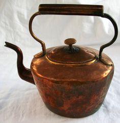 Old Copper Tea Pots   Antique Tea Kettle Copper Gooseneck Teapot by AtomicTreasureHunter