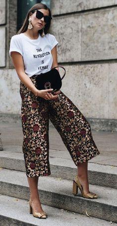 jaquard print. culottes. #streetstyle