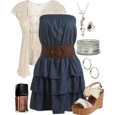 Love the navy dress and shirt. Would look great with my cowgirl boots