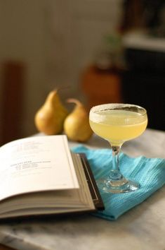 The Perfect Pear, a cocktail with pear brandy, lemon, orange, and simple syrup. A citrusy and refreshing cocktail with a half-sugared rim. Pear Brandy, Brandy Cocktails, Alcoholic Cocktails, Refreshing Cocktails, Longest Recipe, Fall Drinks, Smoothie Drinks, Smoothies, Smoothie