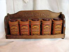Spice Tins with Wood Spice Rack / Java Spice by VintageLoversShop, $23.00