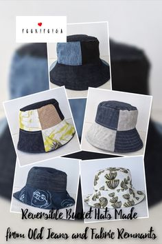 Beautiful designs to choose from inside and out! Bringing two stylish options, Ana Williams' Reversible Bucket Hat made from old jeans and fabric remnants allows you to choose which side to display to the world while keeping safe from the sun! Gifts For Mum, Baby Gifts, Fabric Remnants, Old Jeans, Last Minute Gifts, Novelty Gifts, Hat Making, Bucket Hat, Upcycle