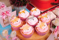 The cupcakes at this woodland baby shower are wonderful! See more party ideas and share yours at CatchMyParty.com #catchmyparty #partyideas #woodlandparty #woodlandbabyshower #woodladncupcakes #woodlandanimals #girlbabyshower