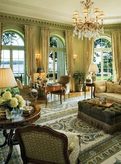 Gorgeous room....love the arched windows, beautiful furniture and accessories (Long Island Sound, home by Wadia Associates, published East Coast Home & Design)