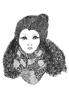 Girl with scarf nr. 2 #krisztiballa #illustration #fashionillustration #scarf #fashion #details #bw