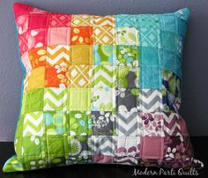 Modern Parti Quilts: Rainbow Pillow Sham, Rainbow Quilted Pillow