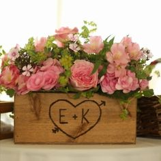 Rustic Wedding Wooden Box Centerpiece Flowers by dlightfuldesigns, $22.00