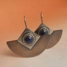 Lapis Lazuli Earrings Mixed Metal Earrings Sterling Silver