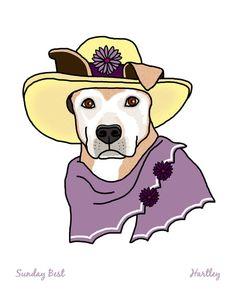 Wall Art, Australian Cattle Dog, Dressed Up Dog, 8x10 Art Print, 5x7 Art Print, Sunday Best